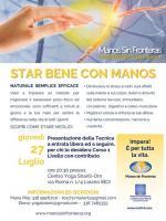 """""""Star bene con Manos"""", giovedì 27 luglio al Centro Yoga Shanti-Om a Loiano"""