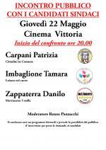 Giovedì 22 maggio confronto pubblico dei tre candidati sindaci