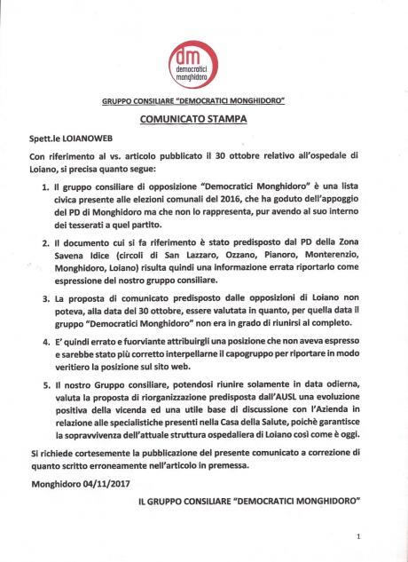 """Ospedale, Democratici Monghidoro: """"il Comunicato del PD Savena Idice non è espressione del nostro Gruppo Consiliare"""""""