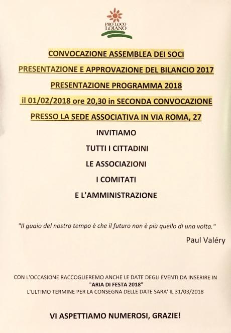 Giovedì 1 febbraio Assemblea dei Soci Proloco