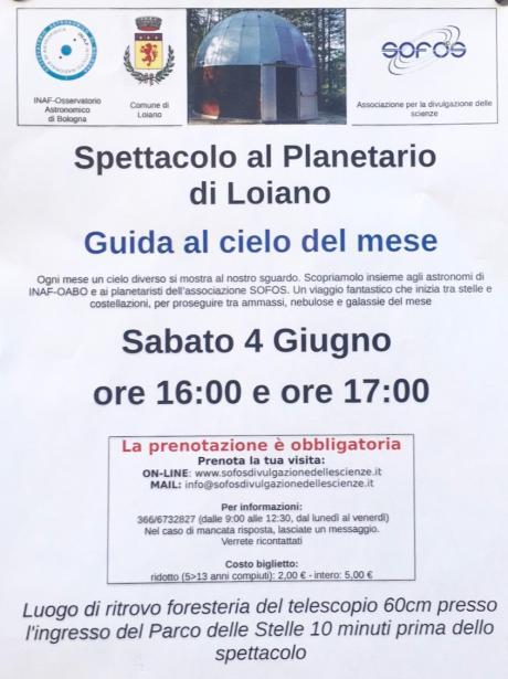 """Sabato 4 giugno Spettacolo al Planetario di Loiano """"Guida al cielo del mese"""""""