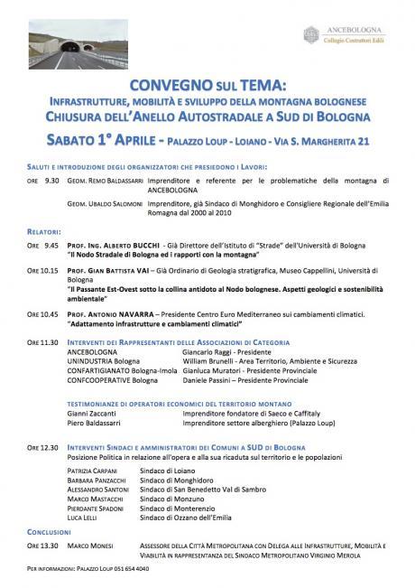 """Sabato 1 aprile a Palazzo Loup, Convegno """"Infrastrutture, mobilità e sviluppo della montagna bolognese. Chiusura dell'Anello Autostradale a sud di Bologna"""""""
