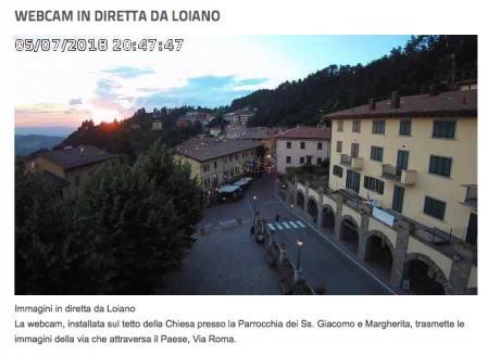 Da oggi  le immagini in diretta del centro di Loiano con la webcam sopra la Chiesa