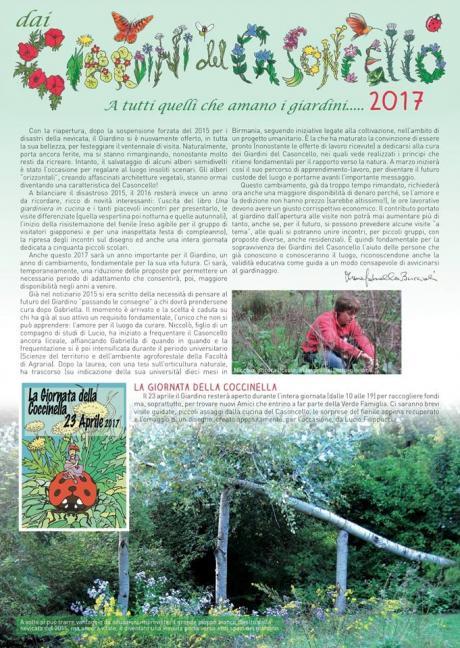 Il 'Notiziario 2017' dei Giardini del Casoncello