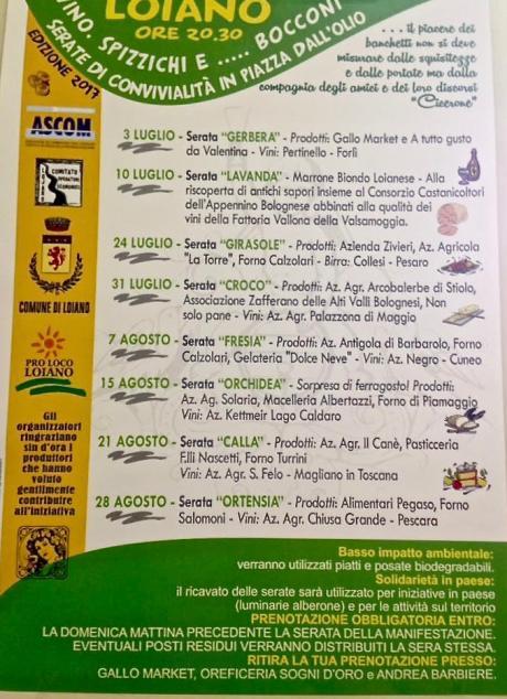 """Dal 3 luglio al 28 agosto  """"Vino, Spizzichi e... Bocconi"""" in piazza Dall'Olio a Loiano"""