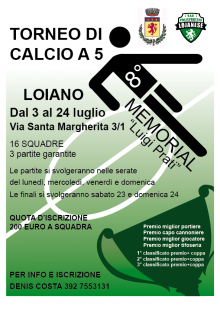 """Dal 3 al 24 luglio, Torneo di calcio a 5  """"8° Memorial Luigi Prati"""""""