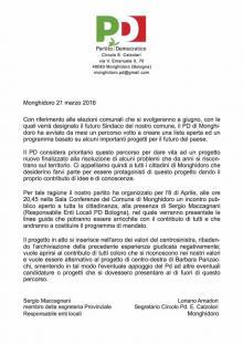 """Elezioni Amministrative a Monghidoro, Partito Democratico: """"archiviamo la negativa precedente esperienza"""""""