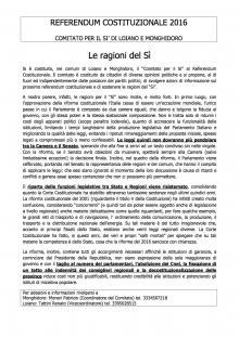 Referendum Costituzionale, nasce il 'Comitato per il Sì' Loiano-Monghidoro