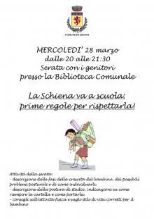 """Mercoledì 28 marzo """"La Schiena va a scuola: prime regole per rispettarla!"""""""