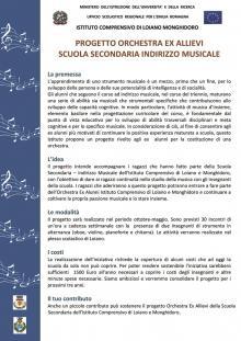 Progetto Orchestra ex allievi Scuola Secondaria indirizzo musicale