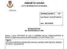 Liquidazione dei gettoni di presenza ai Consiglieri Comunali, relativi al secondo semestre 2015