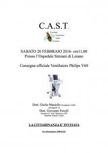 Sabato 20 febbraio consegna all'Ospedale di Loiano del Ventilatore Philips V60 da parte del CAST