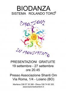 Da settembre 'Biodanza' presso l'Associazione Shanti Om di Loiano