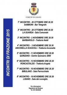 Il calendario degli incontri di frazione con il Sindaco e l'Amministrazione Comunale