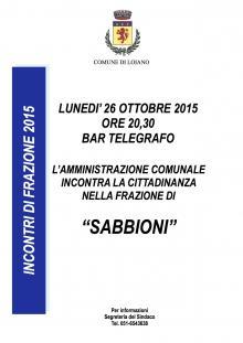 Lunedì 26 ottobre incontro di frazione a Sabbioni con il Sindaco e l'Amministrazione Comunale