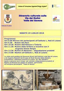"""Sabato 23 luglio """"Itinerario culturale sulla Via dei Mulini Valle Savena"""""""