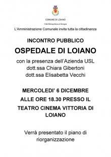 Mercoledì 6 dicembre alle ore 18.30 incontro sulla riorganizzazione dell'Ospedale di Loiano