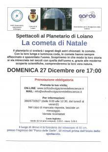 Domenica 27 dicembre al Planetario di Loiano 'La cometa di Natale'