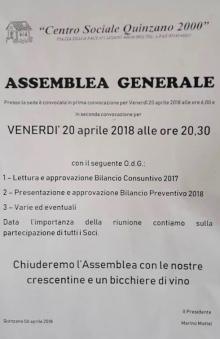 Venerdì 20 aprile Assemblea Generale del 'Centro Sociale Quinzano 2000'