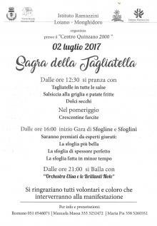 Domenica 2 luglio 'Sagra della Tagliatella' con l'Istituto Ramazzini Loiano-Monghidoro