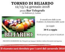 Da venerdì 12 a domenica 14 gennaio 'Torneo di biliardo - Carnevale 2018'
