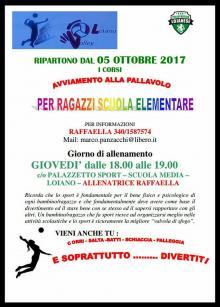 Dal 5 ottobre ripartono i Corsi di Volley per i ragazzi della Scuola Elementare e Media